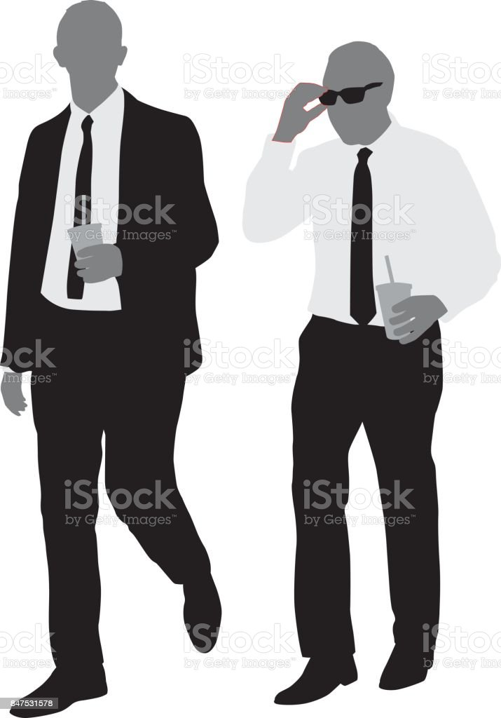 Two Businessmen Walking With Drinks vector art illustration