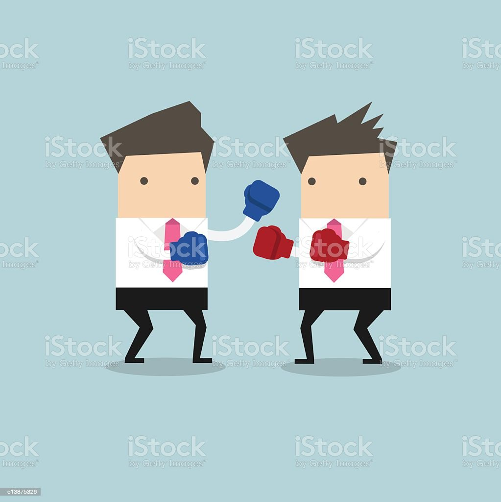 Two businessmen wearing boxing gloves fighting vector art illustration