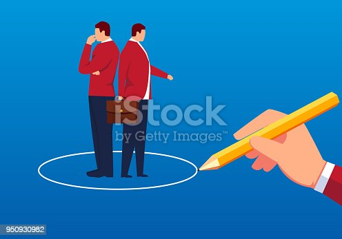 istock Two businessmen were trapped by a circle 950930982