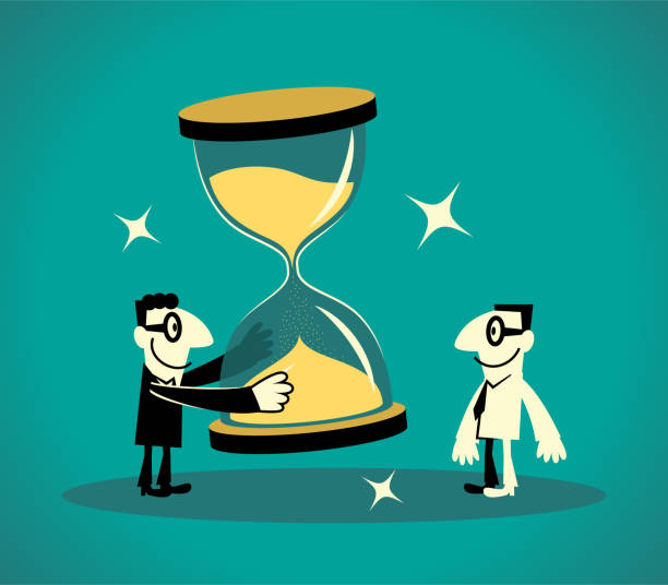 Two Businessmen with a big hourglass sandclock vector art illustration