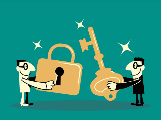 Two businessmen with big key and lock vector art illustration