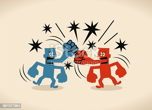 Blue Little Guy Characters Full Length Vector art illustration.Copy Space. Two businessmen with fist tongue fighting with each other.