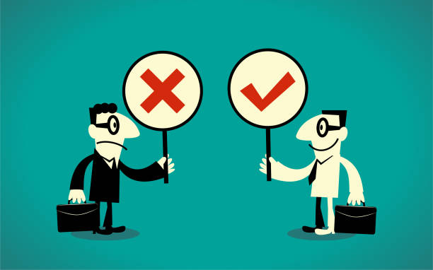Two businessmen with Right and Wrong Sign (true-false question; yes-no question) vector art illustration