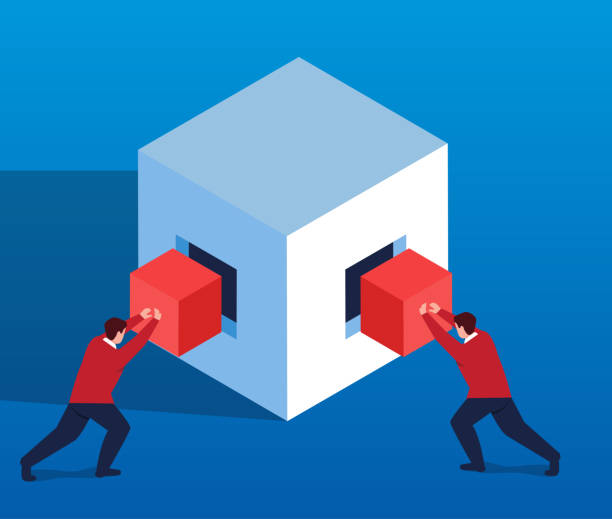 Two businessmen work together to fill the box vector art illustration