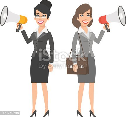 910149000istockphoto Two businesswomen holding speakers and smiling 471759798