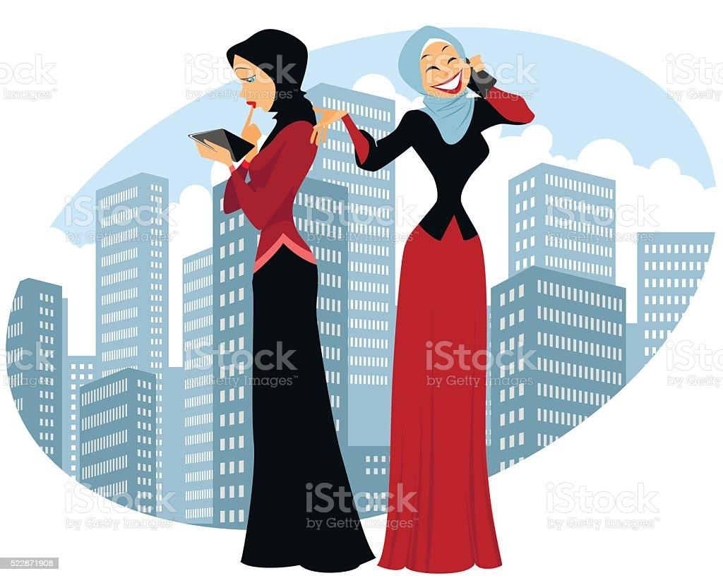 Two businesswomen in city