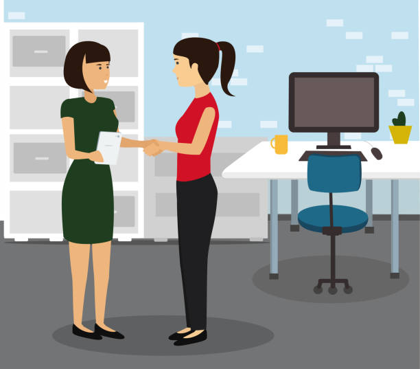 Two Businesswomen Shaking Hands In Modern Office. Teamwork and Cooperation Flat Illustration Vector. coworker stock illustrations