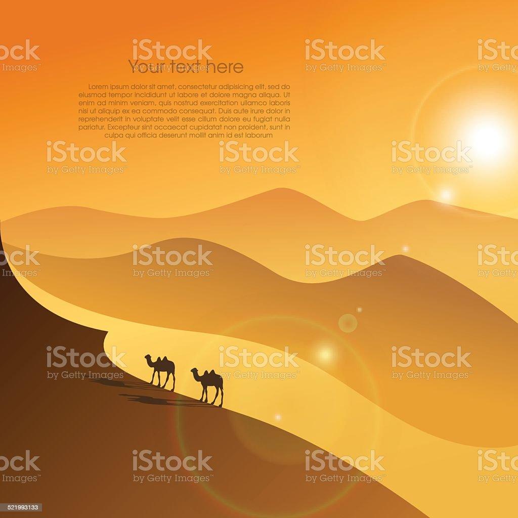 Two camels in desert vector art illustration