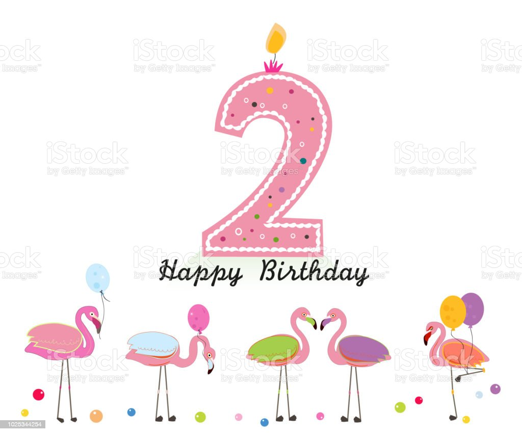 Two Candle Happy Second Birthday Candle Letter Exotic Birds Set Of ...