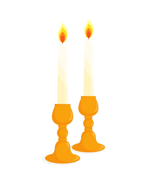 Two candlesticks with candles Two candlesticks with burning candles, isolated illustration on white background candlestick holder stock illustrations