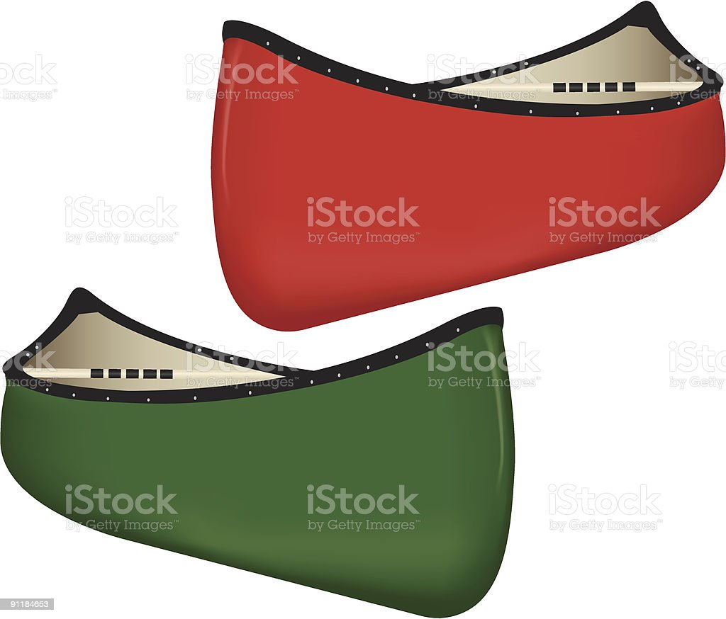 Two Canoes vector art illustration