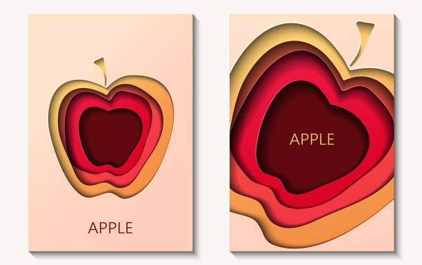 ilustrações de stock, clip art, desenhos animados e ícones de two cards in paper cut style with apple, minimal template design. abstract paper waves, layers, 3d art. - maçã
