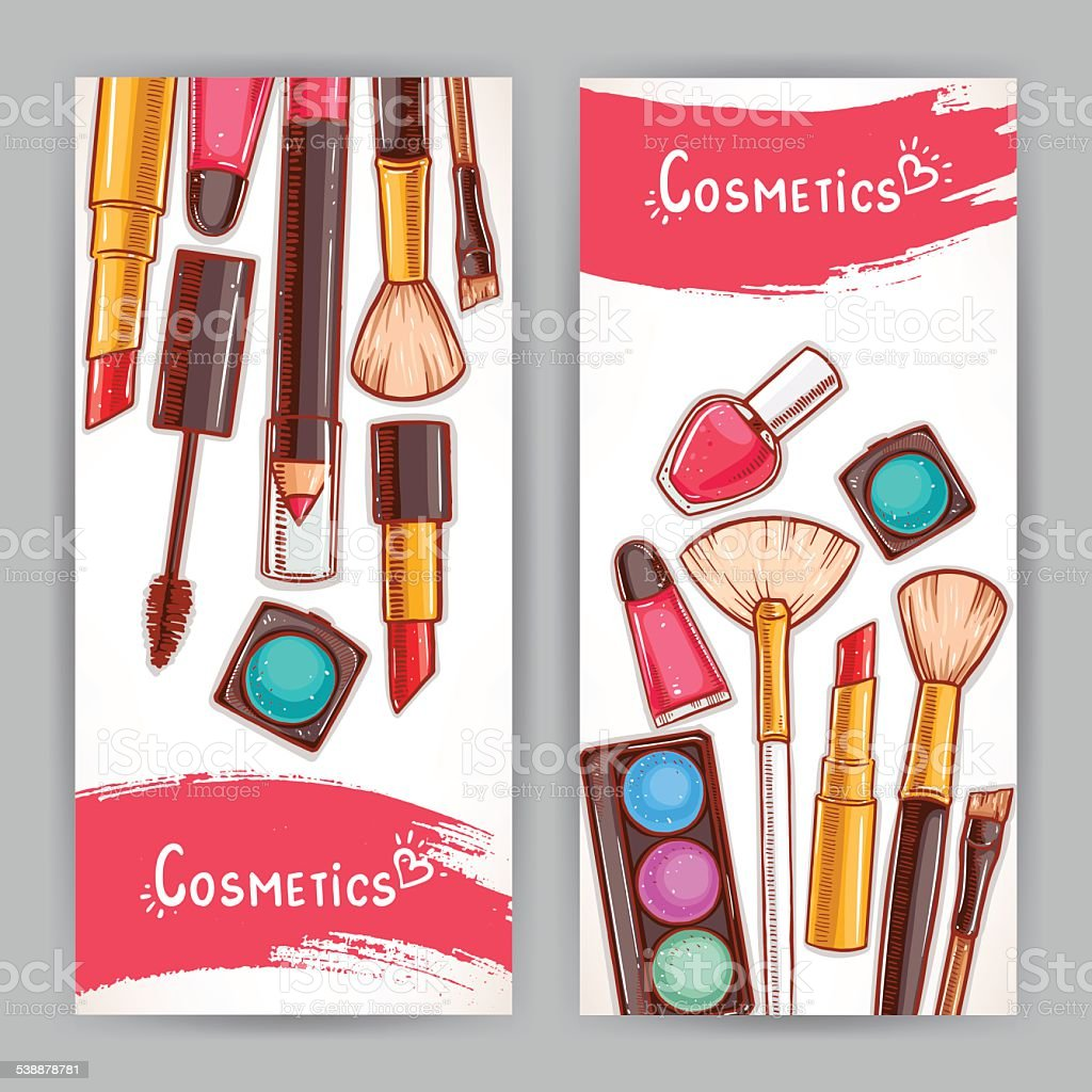 two cards with decorative cosmetics vector art illustration