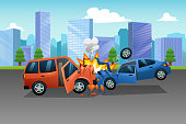 Two Cars in an Accident Illustration