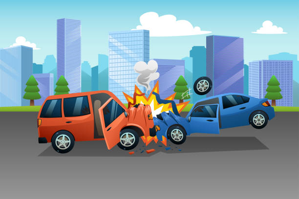 bildbanksillustrationer, clip art samt tecknat material och ikoner med två bilar i olycka illustration - krockad bil