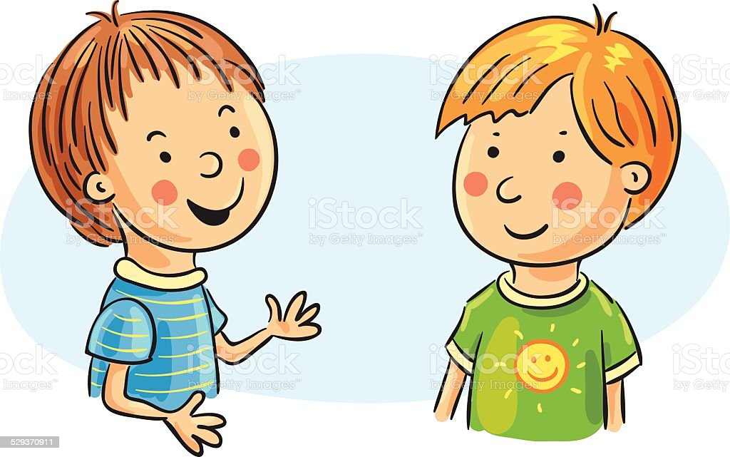 two cartoon boys talking stock vector art more images of boys rh istockphoto com