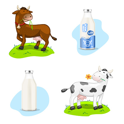 Two cartoon cows and milk 3D bottles. Vector Illustration.