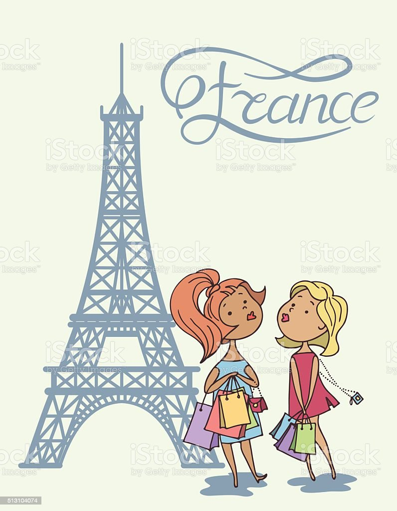 Two Cartoon Cute Girl Eiffel Tower And Inscription France Royalty Free