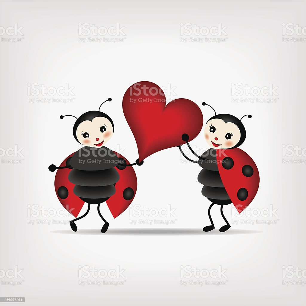 two cartoon ladybugs with heart stock vector art 486997461 istock