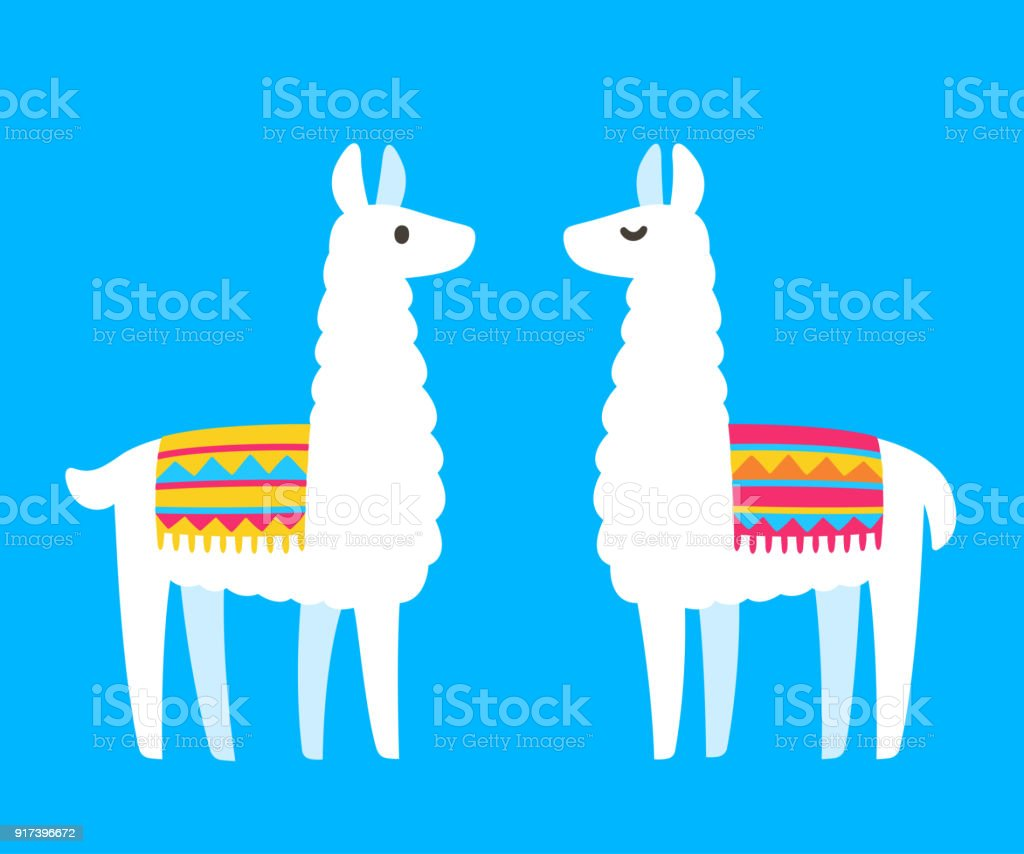 Two cartoon Llamas vector art illustration