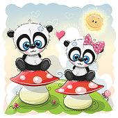 Two Cute Cartoon pandas are sitting on mushrooms