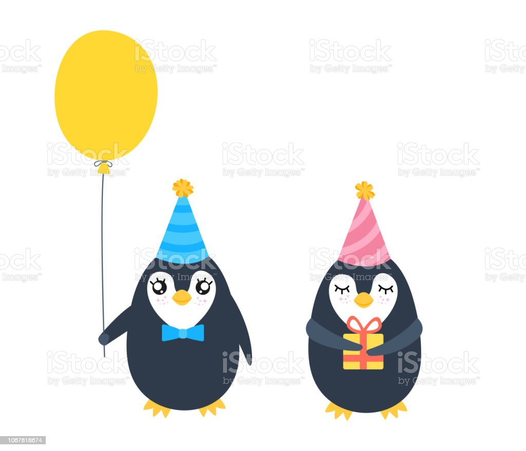 Two cartoon penguin. vector art illustration