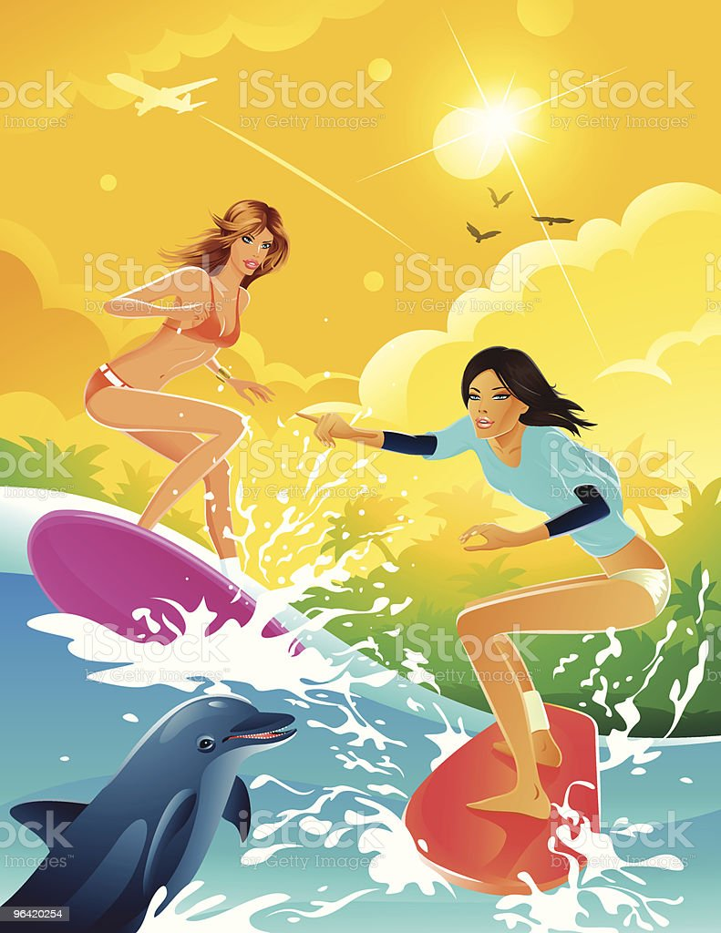Two Cartoon Women Surfing in the Sun with Dolphin royalty-free stock vector art
