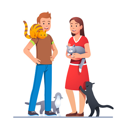Two cat lovers meeting with their pets and talking. Cats siting on shoulder, petting in hands, walking on floor and reaching paw. Felinophile couple. Flat vector illustration