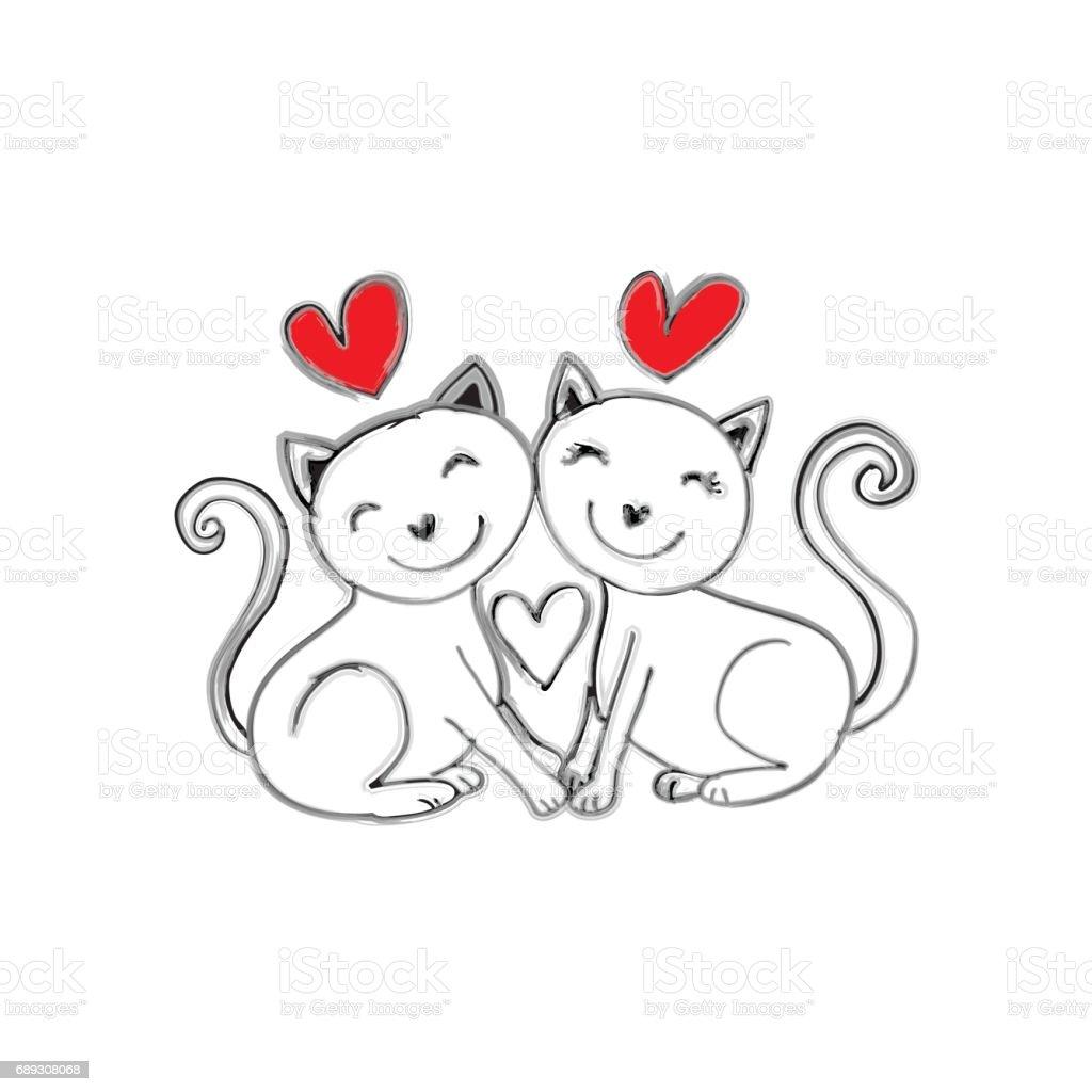 Ilustración de Dos Gatos Caída En El Amor Estilo De Dibujos Animados ...