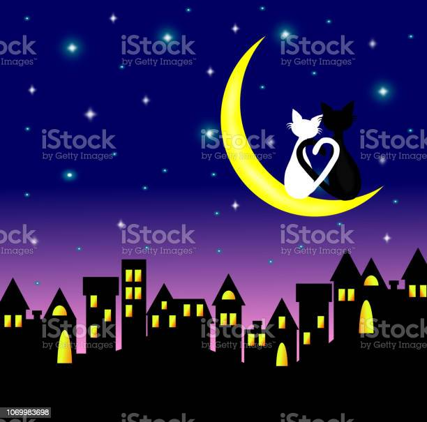 Two cats in love sitting on the crescent moon above the city at vector id1069983698?b=1&k=6&m=1069983698&s=612x612&h=g34rtja5ea4 8l98siltmnvkgj4qydcnwc8mat0 db0=