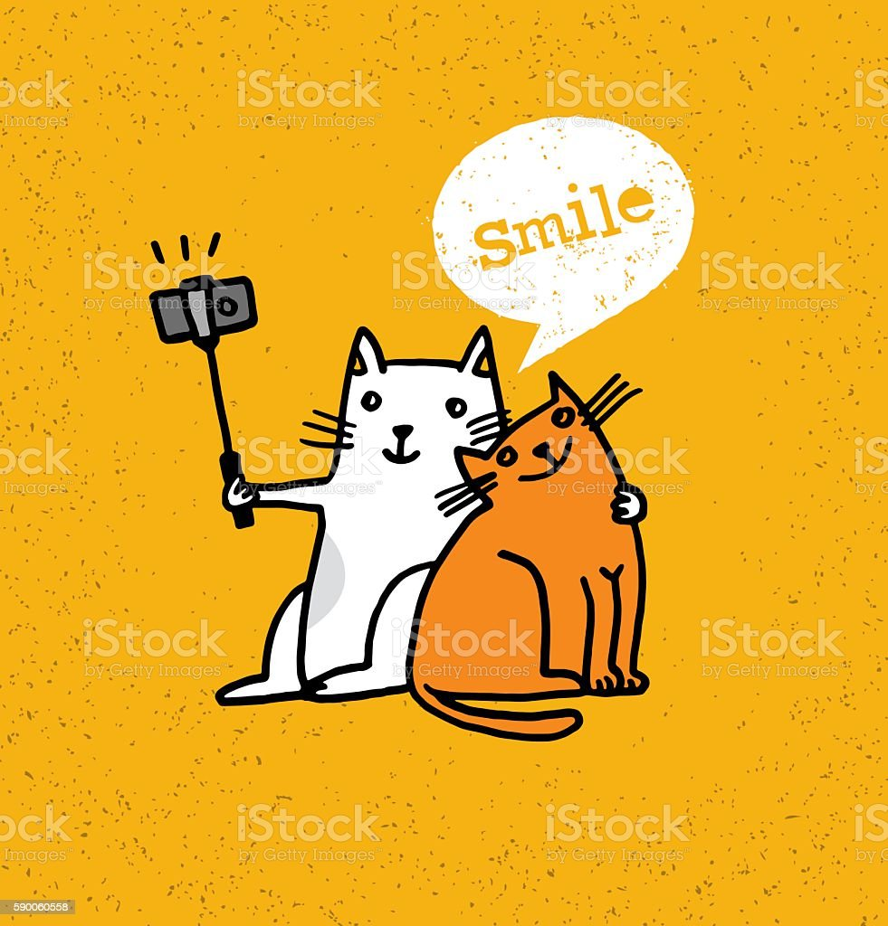 Two Cats Making Selfie On Smartphone Funny Illustration vector art illustration