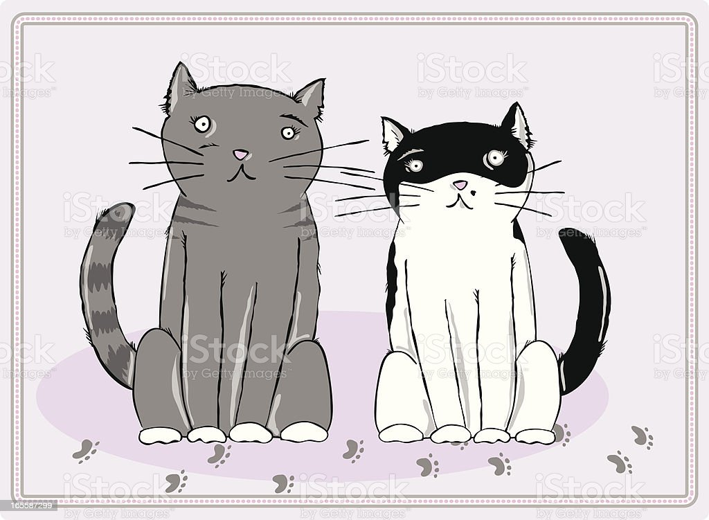 Two Cats royalty-free two cats stock vector art & more images of animal