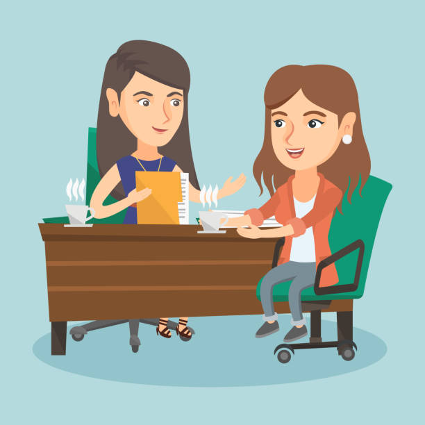 two caucasian business women at business meeting - two people talking stock illustrations, clip art, cartoons, & icons