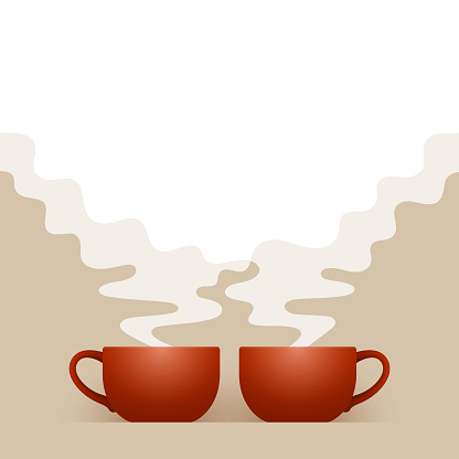 Two ceramic brown cups of fresh hot drink are standing side by side, white steam is above them, with space for your text and design. Concept of joint tea time, relaxing pastime