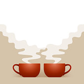 istock Two ceramic cups of fresh hot drink and white steam 1273303185