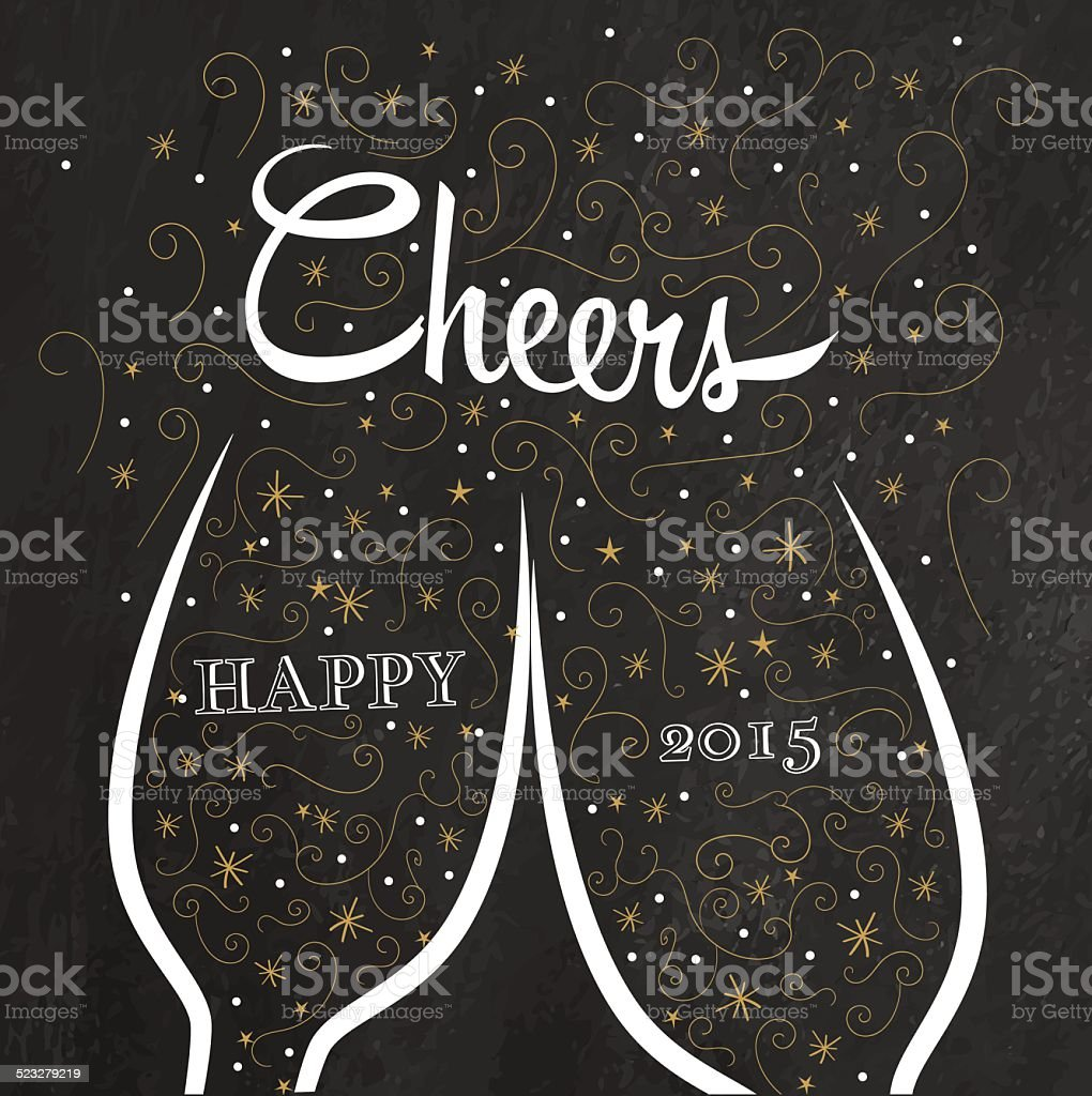 Two champagne flutes with golden doodle bubbles vector art illustration