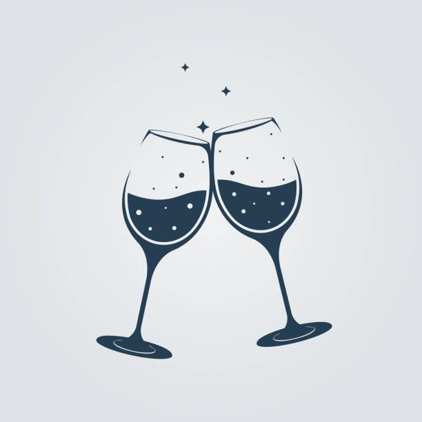 ilustrações, clipart, desenhos animados e ícones de dois copos de champanhe tilintar em torradas. projeto liso da ilustração do vetor. - brinde