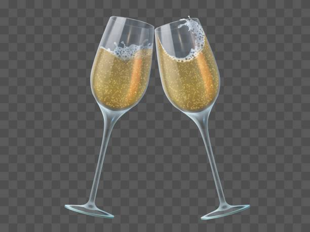 stockillustraties, clipart, cartoons en iconen met twee champagneglazen. toast van wijnglazen met sprankelende transparante witte wijn en bubbels. kerstmis, nieuw jaar geïsoleerde vectorelementen - fresh start yellow
