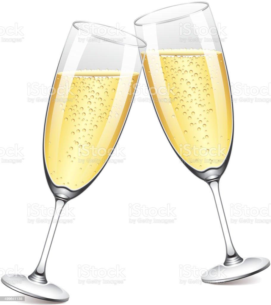 Two champagne glasses vector illustration vector art illustration