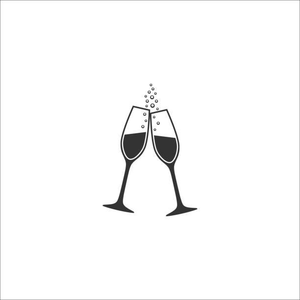 ilustrações, clipart, desenhos animados e ícones de duas taças de champanhe com ícone de vetor de bolhas. - brinde