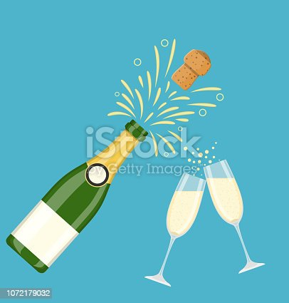 istock Two champagne glasses with champagne bottle 1072179032