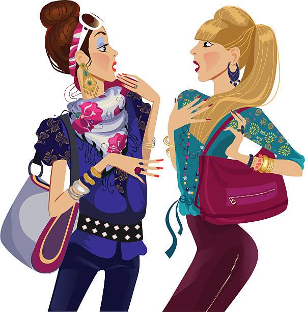 zwei gesang mode mädchen - paararmbänder stock-grafiken, -clipart, -cartoons und -symbole