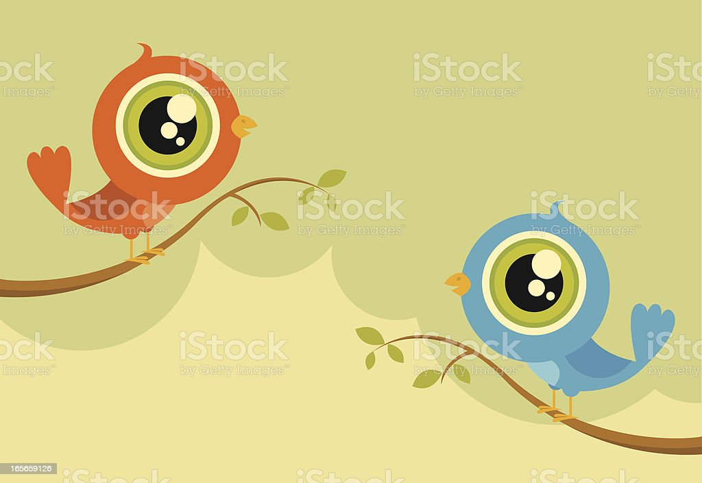 Two Chatty Birds royalty-free stock vector art