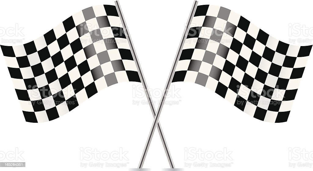 Two Checkered Flags isolated on white background royalty-free stock vector art