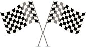 Two Checkered Flags isolated on white background