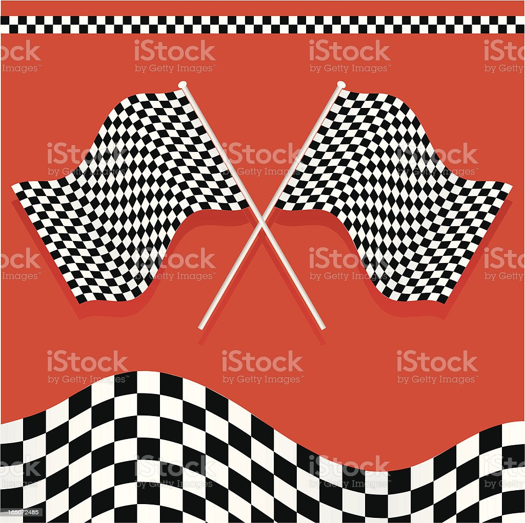 Two checkered race flags on a red background royalty-free stock vector art