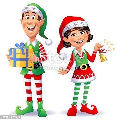istock Two Cheerful Christmas Elves 1283682691