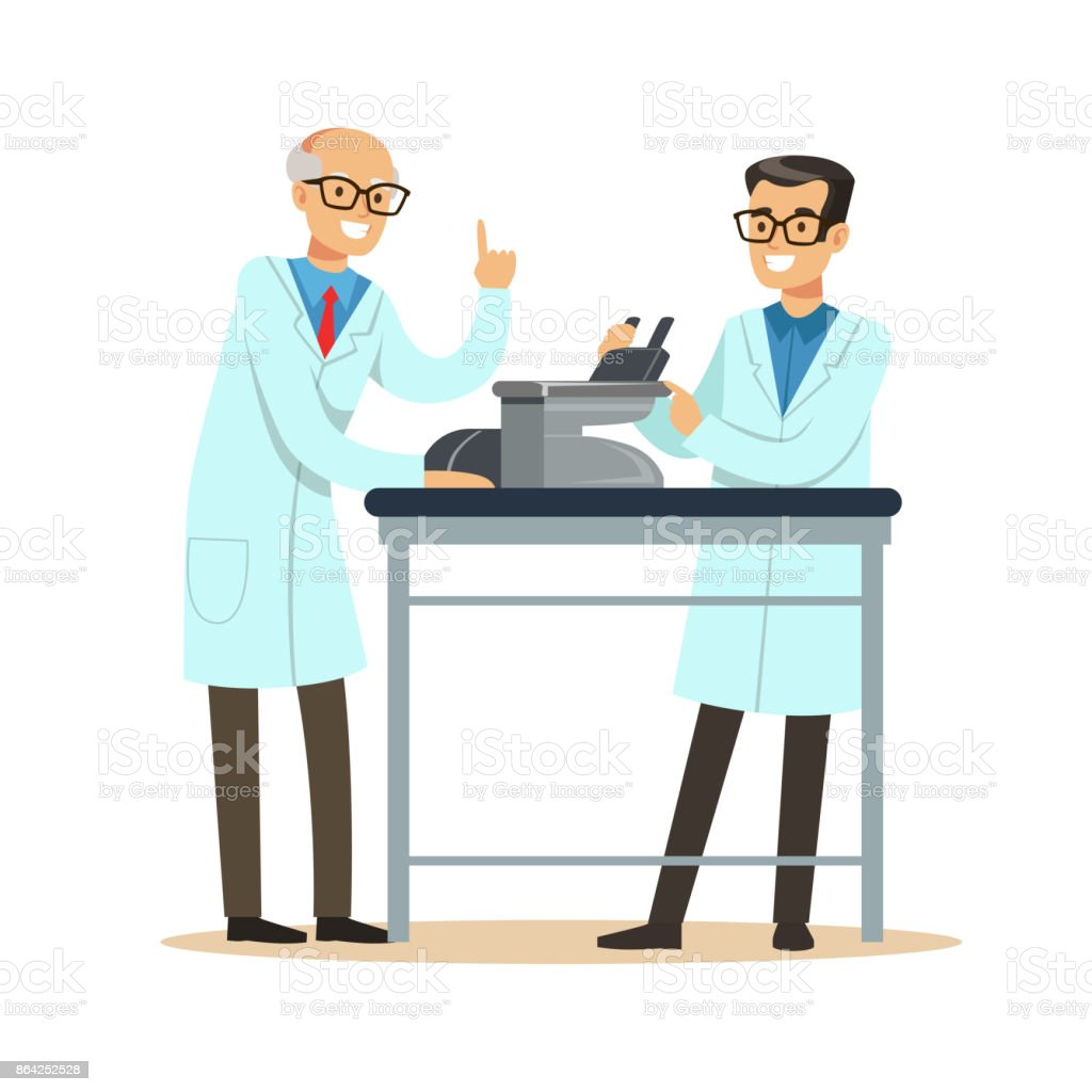 Two cheerful men scientists at workplace doing microscope research royalty-free two cheerful men scientists at workplace doing microscope research stock vector art & more images of adult