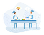 Two Faceless Chef Cook in Uniform Discussing Pizza Recipe Cartoon. Male Master-Chief Character Cutting Vegetables on Table. Man Colleague Showing Thumbs-up Supporting Idea. Vector Flat Illustration