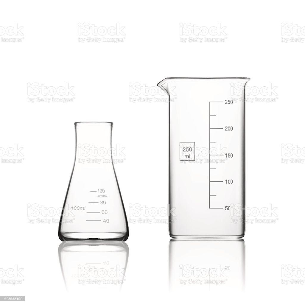 Two Chemical Laboratory Glassware Or Beaker vector art illustration